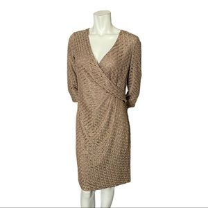 Jones New York Taupe/Gold Lace Faux Wrap Dress 8